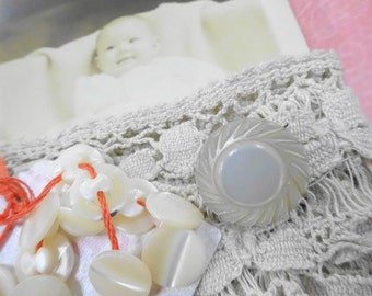 Keepsakes From The Past Antique Baby Doll Carved MOP Shell Pin Buttons Fancy Wide Lace Trim RPPC Estate Photograph Card Project Destash