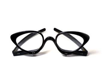 RARE Vintage 50's Cat Eye Flip Hinge Glasses, Unique Black Eyeglasses, Flip Down Frames