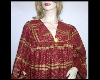 Maroon gold batik smock dress Large XL 2X plus ~ cotton full flowy tent tunic block painted metallic stripes ~ cut out wide sleeves bohemian