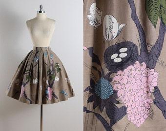 Vintage 50s skirt | vintage 1950s skirt | birds nest novelty print skirt xs/s | 5785
