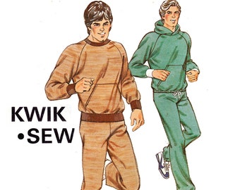 Kwik Sew 1139 Mens Tracksuit Retro Hooded Jogging Suit Active Wear 80s Vintage Sewing Pattern Sizes S - XL UNCUT Factory Folded
