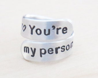 You're my person ring girlfriend boyfriend gift for wife or sweetheart - BFF gift - Couple ring - Valentines Day gift