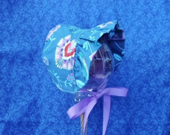 Winter Baby Bonnet Wedgewood Blue with Fleece Lining