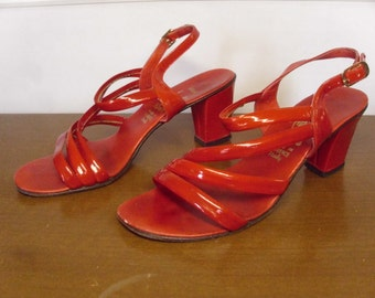 Vintage 1960's/1970's  Red Patent Leather Sandals w/Chunky Heel  Size 7