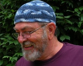 Mens Cotton Cooling Cap™ Crocheted in Big Band Stripes of Blue Camo & Navy