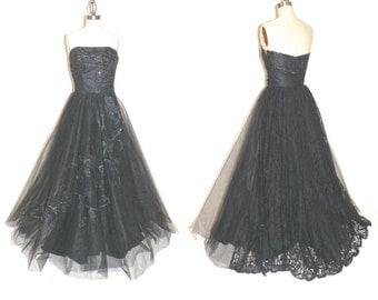 1950s Prom Dress, 50s Dress, Black Prom Dress, Vintage 50s Tulle Formal Dress, Strapless Evening Dress XS - S