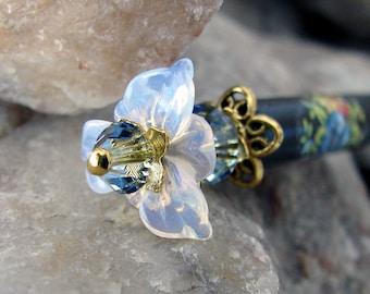 Opalite Flower Hair Stick Glowing Opal Glass with Sapphire Blue Crystal Floral Hairstick Kanzashi Hair Pins Hair Chopsticks Hair Pic Rosina