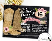 Birthday Party Invitation, Cowgirl, Horse, Rustic Country, Watercolor, Floral, Cowgirl Boots, Printable, DIY, Digital or Printed Invitation