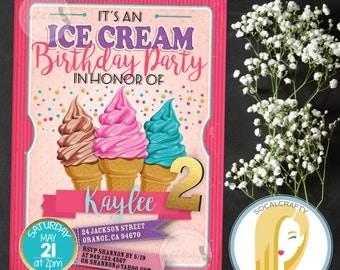 Ice Crean Birthday Party Invitation, Ice Cream Cone Invite, Confetti, Gold Hot Pink, DIY, Printed or Printable Invitations, Free Shipping