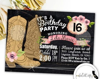 Cowgirl Birthday Party Invitation, Horse, Rustic Country, Watercolor, Floral, Cowgirl Boots, Printed or Printable Invitations, Free Shipping