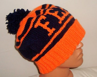 """Mens Hat, Personalized gift for  Boyfriend Gift Hand Knit Hat in Orange Blue with Pom """" FEEL"""" Personalized knit Gift for Him"""