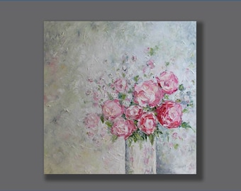 Flower Painting Large Painting Valentines Gift Abstract Oil Painting  Original Abstract Artwork Palette Knife  Modern Art Gifts for Her