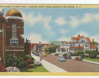 Atlantic Avenue Wildwood New Jersey linen postcard