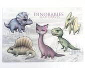 Dinobabies Sticker Sheet - Dinosaur and Dinokitty vinyl art stickers - by Mab Graves