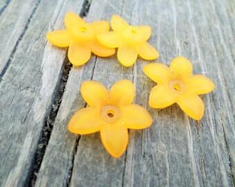 Lucite Flower Beads Orange 16mm X 4mm