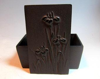 Vintage Japanese Iron Box-Iris Flowers