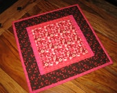 Valentines Day Table Topper, Pink Red and Brown Red Hearts, Chocolate Brown Hearts, Quilted Table Topper, Hanging Hearts Valentine Table Mat