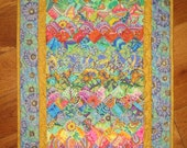 Art Deco Art Quilt, Paisley Turquoise, Orange, Yellow and Purple Fabric Wall Hanging, Wall Art Quilt, Textile, Watercolor Quilt,  Handmade