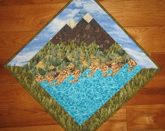 Lake Tahoe Mountains Art Quilt Fabric Wallhanging, Textile Art Quilt, Quilted Wall Hanging, Lake Tahoe Art, Quiltsy Handmade
