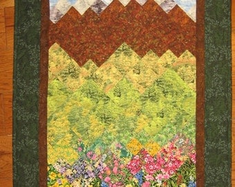 Tahoe Summer Art Quilt Fall Trees, Flowers and Mountains, Fabric Wall Hanging, Landscape Art Quilt , Wall Art Quilt, Textile Art, Handmade