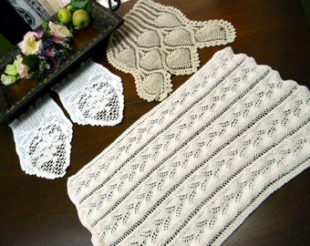 3 Assorted Vintage Crochet Armchair Doilies 9615