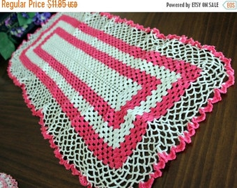Pink and White Runner - Vintage Hand Crocheted Table Linens or Long Doily, Crochet Mantel Scarf 13331