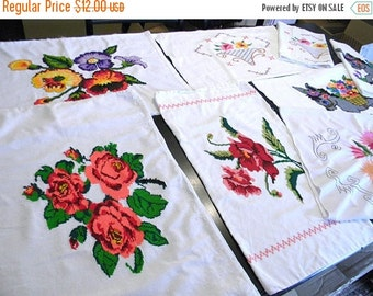 8 Vintage Brightly Embroidered Pillow Cases Slip Covers 6079