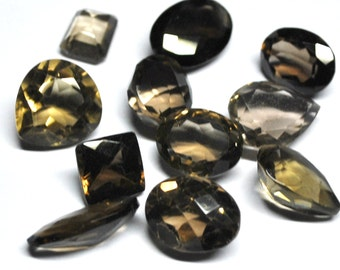 Natural Smokey Quartz, Faceted Stone, Natural Gemstones,  All Shapes, Jewelry Supply - 11 pcs - 10.0-21.0 mm - 126.9 ct - 160229-04