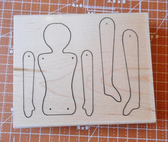 Large Spirit Doll Template Rubber Stamp by Limited Edition