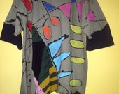 Hand painted Suessical olive upcycled tunic fits plus size