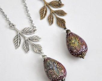 Mood Necklace, Asymmetric Leaf Necklace, Antique Silver Mood Necklace, Antique Brass Branch Necklace, Silver Leaf, Unique Colorful Necklace