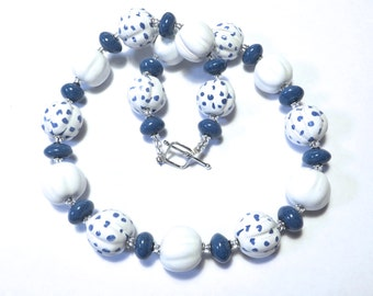 Blue and White Beaded Necklace, Statement Necklace, Kazuri Bead Necklace, Fair Trade, Cornflower Blue and White