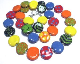 Kazuri Bead Necklace, Rainbow Colored Necklace, Fair Trade Beads, Ceramic Jewelry