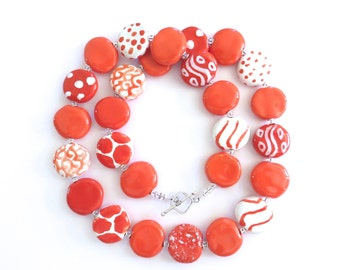Kazuri Bead Necklace, Fair Trade Beads, Ceramic Necklace, Orange or Coral and White Necklace