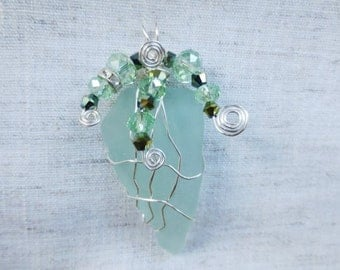 Beautiful silver plated wire wrap and crystal beads Florida green sea glass pendent. Boho chic beach seaglass beachglass pendant.