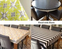 Laminated cotton aka oilcloth tablecloth custom size and fit choose elastic, tailored, or draped Ty Pennington Moorish tiles chartreuse