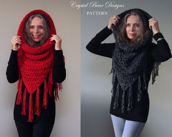 "Hooded Cowl Crochet PATTERN / Hooded Scarf Poncho / Beaded Fringe Trim  / ""Athena Hooded Cowl"""