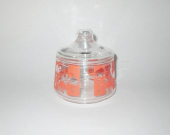 Vintage 1950s Glass Container With Palm Tree Design