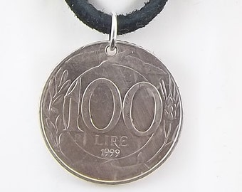 Italian Coin Necklace, 100 Lire, Coin Pendant, Leather Cord, Mens Necklace, Womens Necklace, 1999