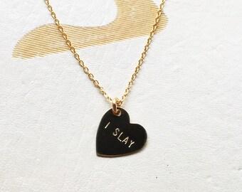 I SLAY Heart Charm Necklace