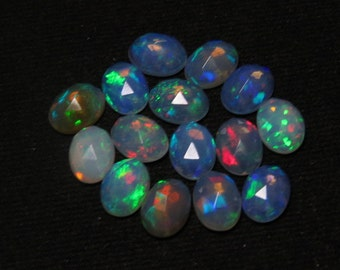 Welo Ethiopian Opal - Top Grade High Quality - 6x8 mm Oval Rose Cut Cabochon Each Pcs Have Full Color Full Fire super sparkle - 10 pcs