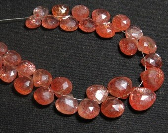 SUNSTONE - AAAA - High Quality - So Gorgeous Golden Natural Color Full Flashy Fire Faceted Pear Briolletes Huge size 7 - 11 mm - 31 pcs