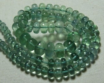 APATITE - So Gorgeous Natural  Green Color - Smooth Polished Rondelle Beads huge size - 5 - 9.5 mm - 16 Inches