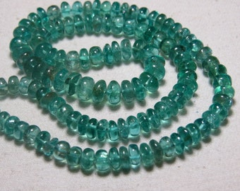 APATITE - So Gorgeous Natural  Sky Green Color - Smooth Polished Rondelle Beads huge size - 5 - 7 mm - 16 Inches