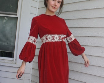 Red Velvet Lace Dress 60s 70s Vintage Gay Gibson XS S
