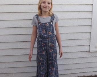 70s Girls Overalls Plaid Mod Hippie Blue Retro Vintage Floral 10 11