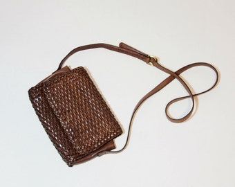 Vintage Brown Woven Leather Slim Crossbody Purse