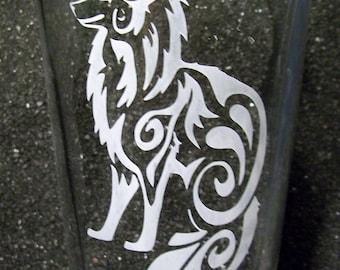 Tribal Fox etched pint glass tumbler
