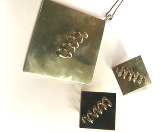 Mid Century Sterling Silver Necklace and Earring Set
