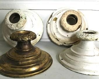 Set of Four Antique Brass Ceiling Light Fixtures